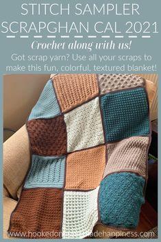 Crochet Motif Patterns, Crochet Squares, Crochet Stitches, Knit Crochet, Crochet Sampler Afghan Pattern, Free Crochet, Easy Crochet, Knitting Patterns, Crochet Crafts