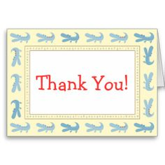 Blue Baby Mod Alligator Thank You Cards
