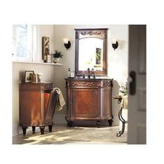 Home Decorators Collection Chelsea 37 in. Vanity in Antique Cherry with Granite Vanity Top in Black-1589200190 at The Home Depot