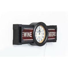 Ρολόι τοίχου Wine-Beer Time Ένα ιδιαίτερο ρολόι τοίχου σε vintage look. Υλικό : Σίδηρο, Νιτροκυπαρίνη λάκα (NC), γυαλί, λαμπτήρας μικτός 1x12W (εκτός) και μπαταρία 1xAA (εκτός). Wine And Beer, Union Jack, Vintage, Style, Swag, Vintage Comics, Outfits