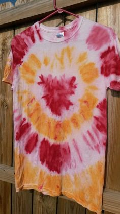Check out this item in my Etsy shop https://www.etsy.com/listing/197737574/red-and-orange-tie-dye-shirt