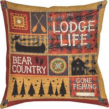"""DECORATIVE PILLOWS - """"BEAR COUNTRY LODGE"""" PILLOW - 18"""" SQUARE - LODGE LIFE"""