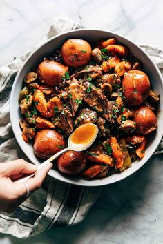 Rustic delicious and cozy to the max. Tender beef onions potatoes garlic and herbs mushrooms and a perfectly luscious gravy. Slow Cooker Recipes, Beef Recipes, Cooking Recipes, Healthy Recipes, Crockpot Meals, Eat Healthy, Cooking Ideas, Easy Recipes, Healthy Life