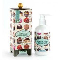 Yummy chocolate scented lotion in this pretty packaging- made with shea butter