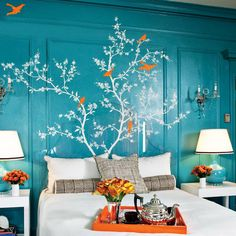 Love the color of these walls with Flowering Birds Wall Decal to make it pop- via | dotandbo.com   Vio~