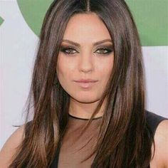 MilaKunis....looks gorgeous with chocolate hair colour ♡