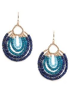 viv & ingrid gold & blue peacock chandelier earrings - the glossarie Seed Bead Earrings, Beaded Earrings, Earrings Handmade, Handmade Jewelry, Hoop Earrings, Peacock Earrings, Blue Earrings, Stud Earring, Stone Earrings