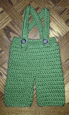 Green overalls for baby! Check out LDJ Crochet on Facebook!