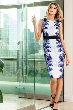 Crisp blue and white dress