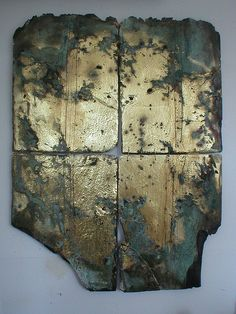 Tricia North_Gold slate 4 emma | reclaimed slate with corroded gold leaf.