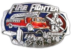 FIREFIGHTER FIREMAN FIREMEN VINTAGE OLD CARS TRUCKS BELT BUCKLE BUCKLES