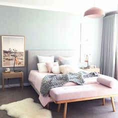 Pink and grey room decor grey and pink bedroom decor full size of bedroom for pink . pink and grey room decor Pink Bedroom Design, Pastel Bedroom, Modern Bedroom Decor, Bedroom Green, Home Bedroom, Bedroom Ideas, Bedroom Designs, Pink Bedrooms, Sofa In Bedroom