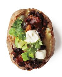 Here a baked potato dish provides enough sustenance to make a meal in itself. Start this in the morning.