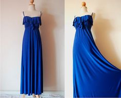 Gorgeous Blue Evening Frill Dress by pinksandcloset on Etsy, $55.00