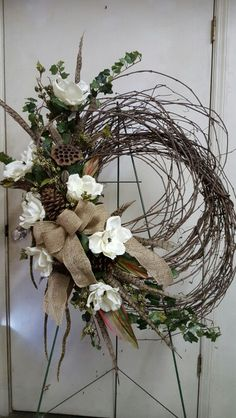 Magnolia Grapevine wreath by L. Autumn Wreaths, Christmas Wreaths, Christmas Decorations, Holiday Decor, Christmas Tree Design, Christmas Makes, Wreaths For Front Door, Front Doors, Front Porch