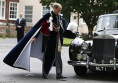 Dressed in his finery, Prince William, a member of the Knights and Ladies, arrives for the Order of the Garter service at St George's Chapel...