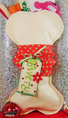 Christmas dog stocking made out of canvas and accented with a personalized tag! Used Papertrey Ink and My Favorite Things dies for the tags! Secretbees Studio: Stockings For Doggies!