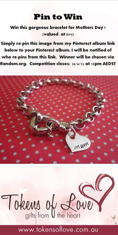 Pin to Win...this gorgeous 'Mum' bracelet courtesy of www.tokensoflove.com.au