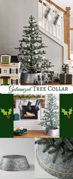 galvanized tree collar adds a rustic look to the christmas tree part of the joanna