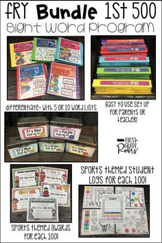 This bundle of Fry sight word lists covers the first 500 words.  This is the perfect assessment tool for a kindergarten, first, second or third grade classroom.  Each 100 words comes with two list options, 5 words or 10 words.  Their are word cards for each option recording sheets and binder suggestions for storing.  Each 100 comes with a different sports themed goal, award, and recording sheet.  This is perfect for teachers or parents to run in a volunteer program.