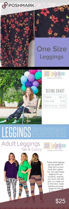 """Brand new Lularoe os leggings cherry blossoms Having the nickname """"butter leggings"""" is just a sign that our leggings are the softest around. Our leggings are ultra stretchy and super soft. They are as close to your own skin as you can get while still being clothed. Coming in both solid colors and a variety of patterns you are bound to end up with a pair for each day of the week. LuLaRoe Pants Leggings"""