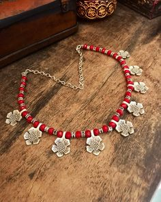 Excited to share the latest addition to my #etsy shop: Ethnic handmade  necklace - Tribal red  Yemini necklace - ethnic beaded necklace - Yemini tribal floral motifs. #jewelry #necklace #silver #boho #red #berbernecklace #berberjewelry #bohonecklace