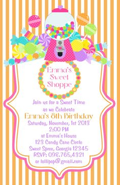 Sweet Shoppe Candy Birthday Invite