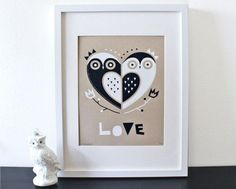 $17.50 Owl Love Screenprint on Kraft by sassandperil on Etsy