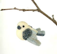 Dove Ornament Beaded Bird Decoration READY TO SHIP by MeredithDada
