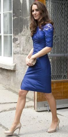 Royal blue dress with nude pumps.
