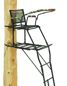Rivers Edge Uppercut Ladder Stand. Flip-up, TearTuff mesh seat for standing shots. Full platform with footrest. Two tree blades and ratchet straps for added stability. Large, removable shooting rail. Three-rail ladder for unmatched stability.