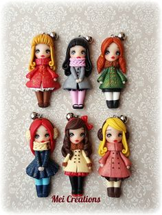 Dolci bamboline freddolose fatte a mano in fimo. Winter dolls handmade in polymerclay
