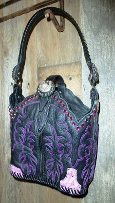 Black, pink and purple cowboy boot purse from Diamond 57 Boot Purses