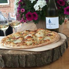 July 10, 2016 - Colchester Ridge Estate Winery 2014 Chardonnay with Potato Rosemary Pizza. http://www.essexcountywineries.ca/wines/2016/20160710.htm Happy 10th Birthday Crew!!   No better way to celebrate than with an outdoor pizza party starring Crew Chardonnay!!  Cheers to many more!  All local Ingredients