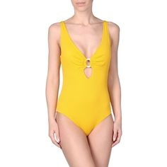 Les Copains Beachwear Swimsuit ($140) ❤ liked on Polyvore featuring swimwear, one-piece swimsuits, yellow, les copains, one piece swimsuit, swimsuit swimwear, yellow one piece swimsuit and swim suits