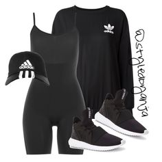 """All black x Adidas"" by styledbyanja ❤ liked on Polyvore featuring adidas Originals, SPANX and adidas"