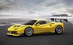 Ferrari 488 Challenge, 2017, supercar, sports car, yellow Ferrari, tuning Ferrari