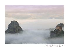 Meteora monastery & rock in the fog - null