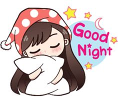 Good night - Hi ! My name is Boobib.I like to wear polka dot dress.Let enjoy with my lovely stickers.