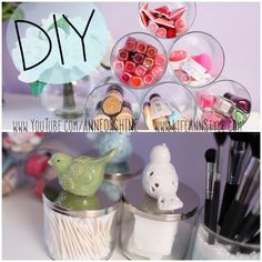 DIY: Repurposed Candle Jar Storage   lifestyle Great and cute idea to organize and store makeup or other little things