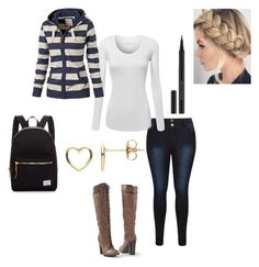 """""""High School Outfit :)"""" by poochie-lover on Polyvore featuring Venus, Kevyn Aucoin, Estella Bartlett and Herschel Supply Co."""