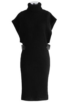 Roll-Neck Knitted Dress in Black