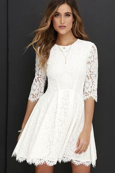 Darling Ivory Dress - Lace Dress - Skater Dress - $78.00