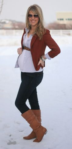 open shirt over tank with a belt and then blazer or sweater over that. Could use pre-pregnancy clothes with this look.