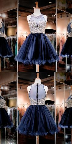 A-Line Homecoming Dresses,Round Neck Homecoming Dresses,Dark Blue Homecoming Dresses,Short Homecoming Dresses,Tulle Homecoming Dresses,Beaded Bodice Homecoming Dresses,Homecoming Dresses 2017