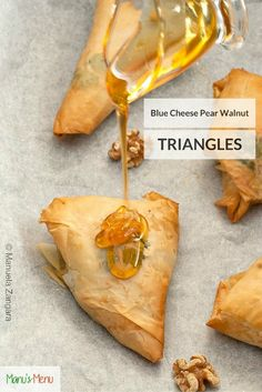Blue Cheese, Pear and Walnut Triangles - a delicious appetiser idea.