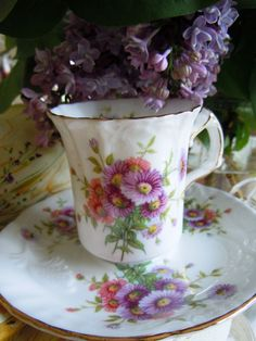 miniature teacup and lilacs