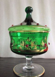 Decorative Arts Antique Handmade Czechoslovakian Enamel Cranberry Glass Footed Compote Jar Dish Skillful Manufacture Glass