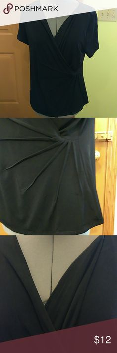 JACLYN SMITH CROSS-OVER TOP Jaclyn Smith V-Neck Cross-Over Top, Black Jersey, Very Soft, 95% Polyester 5% Spandex, Stylish & Chic, Beautiful Front Detailing as Depicted in Pics, Size Large, Never Worn, New With Tags Jaclyn Smith Tops Tees - Short Sleeve