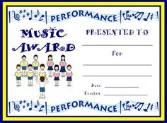 Choir Award: You can find this printable award (and many other awards and certificates for elementary school teachers) on Unique Teaching Resources.